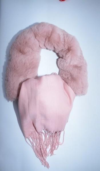 Esarfa Beatrice 2 in 1 cu insertii de blanita ,nuanta de roz