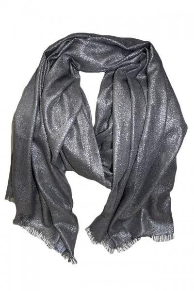 Esarfa de ocazie, model casual-elegant cu forma clasica,Argintie
