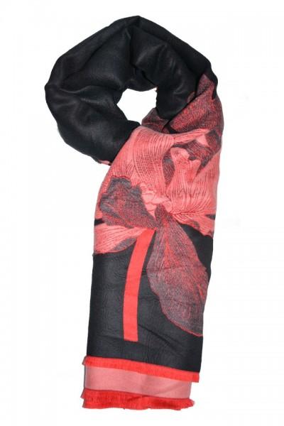 Esarfa tip sal cu imprimeu floral ,nuanta neagra