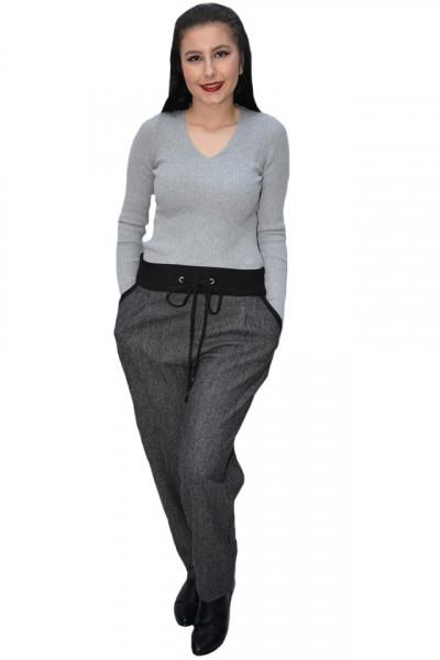 Pantalon casual Eve din stofa cu dunga neagra in talie,gri inchis