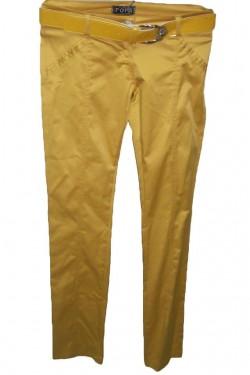 Poze Pantalon lung galben, design simplu, si curea in talie lacuita