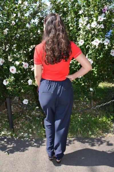 Pantaloni casual lungi cu strasuri la buzunare,nuanta de bleumarin