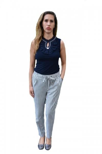 Poze Pantaloni Suzi ,moodel de dungi,nuanat alb-negru