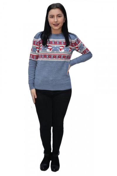 Poze Pulover tricotat Inna ,imprimeu cu snowman,nuanta de albastru