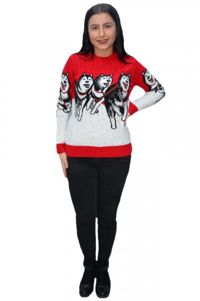 Poze Pulover tricotat Paula ,model cu lupi ,rosu