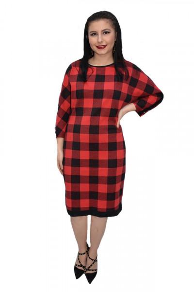 Poze Rochie casual Blanco din tricot cu patratele,rosu-negru