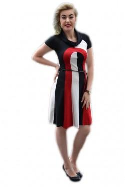 Poze Rochie casual, de culoare negru-rosu, un cordon din piele subtire