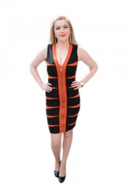 Rochie de culoare negru-portocaliu , cu fermoar