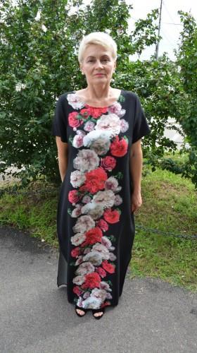 Rochie de zi  cu imprimeu floral, culoare negru-rosu