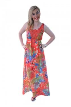 Poze Rochie deosebita de vara, nuanta corai cu flori mari colorate