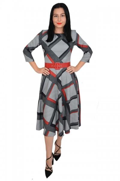Poze Rochie eleganta Dalah cu imprimeu geometric negru cu rosu,croi empire,nuanta de gri