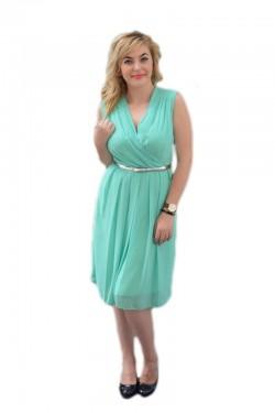 Poze Rochie eleganta de culoare turcoaz, model simplist din voal