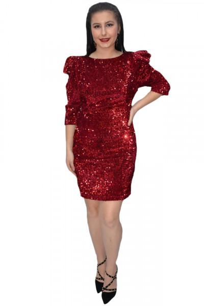 Poze Rochie eleganta Liana cu paiete si maneci bufante,rosu