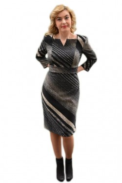 Rochie fashion cu decolteu mic si maneca trei-sferturi, negru-bej