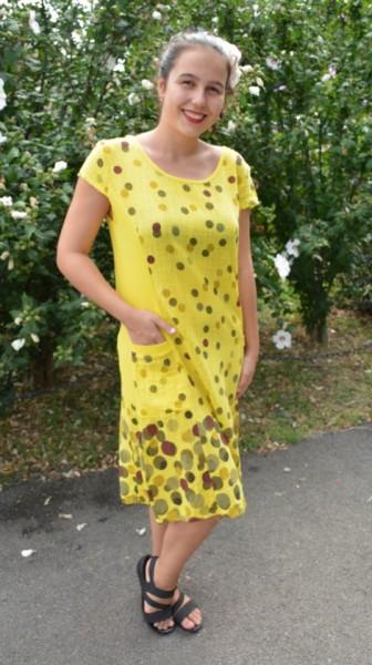 Rochie Gieda, din bumbac, imprimeu cu buline, nuanta de galben