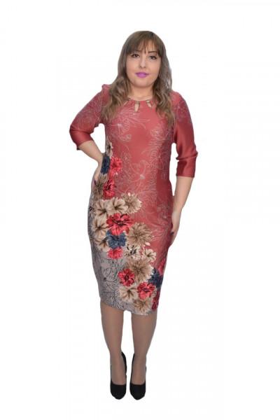Poze Rochie Gretchen caramizie cu imprimeu floral