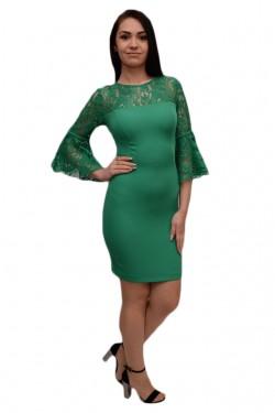 Poze Rochie mulata pentru ocazie, cu insertii de dantela, nuanta verde