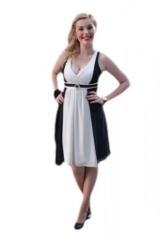 Rochie scurta de ocazie,bicolora negru-alb