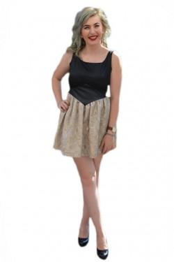 Poze Rochie tinereasca scurta, model elegant, culoare negru-auriu