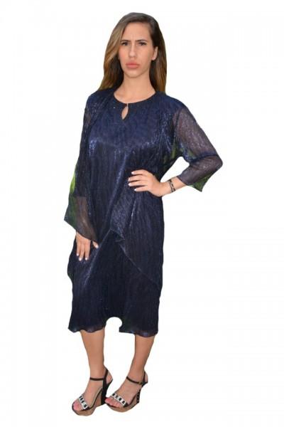 Poze Rochie Zefera cu cartigan asimetric ,nuanat de bleumarin