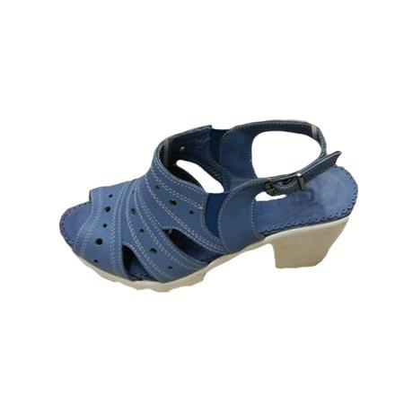 Poze Sanda clasica de vara, culoare albastra, model cu decupaje