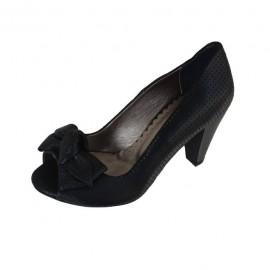 Poze Sandale cu toc mediu, decupate in fata, din piele naturala perforate