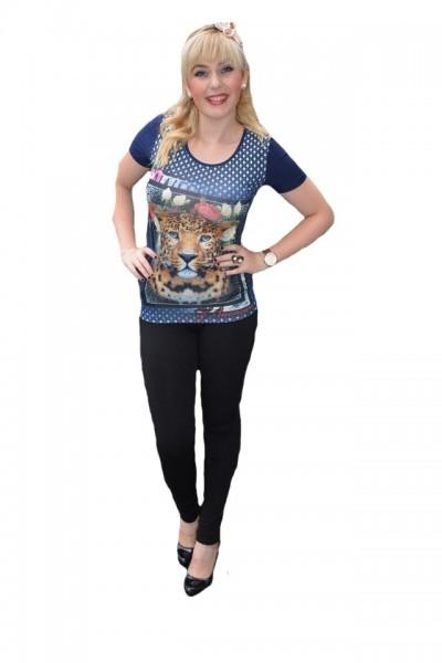 Poze Tricou fashion cu imprimeu in fata, culoare bleumarin, cu cristale
