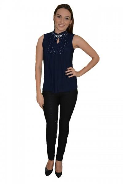 Poze Bluza bleumarin cu volanase in fata, model elegant fara maneci