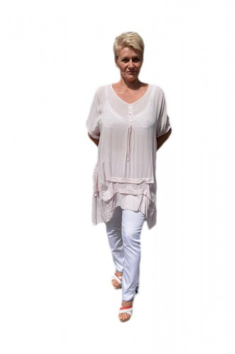 Poze Bluza casual ,asimetrica, cu design de buzunare roz