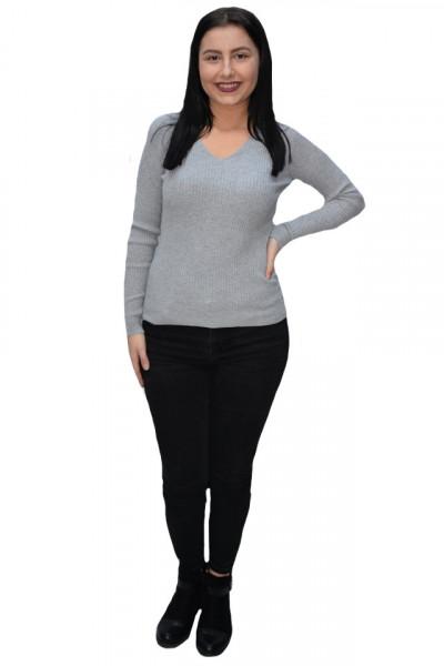 Poze Bluza casual Kimmy,model simplu si decolteu in V ,nuanta de gri