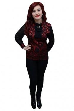 Poze Bluza clasica, de culoare negru-rosu, cu dantela aplicata