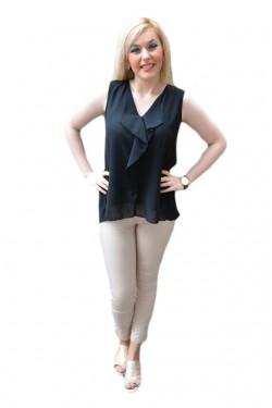 Poze Bluza de culoare neagra, din voal cu model fronsat in spate
