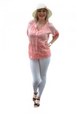 Poze Bluza deosebita de culoare corai, masura mare, cu design brodat