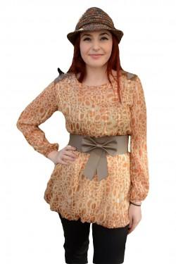 Poze Bluza deosebita, de culoare maro deschis, cu design de cercuri
