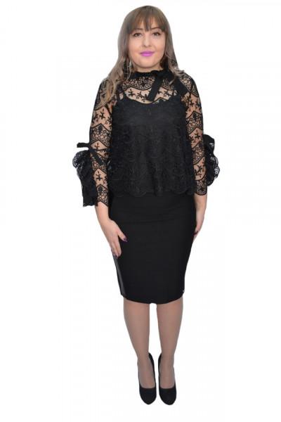 Poze Bluza eleganta Corina din dantela cu maneci deosebite ,neagra
