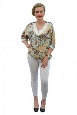 Poze Bluza eleganta din voal cu imprimeu de buline multicolore