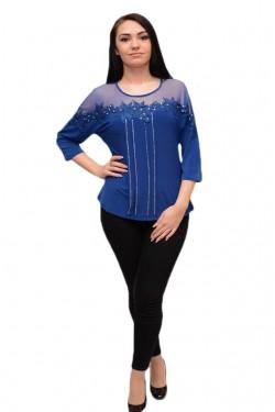 Poze Bluza eleganta in nuanta albastra, cu tul fin, dantela si strasuri