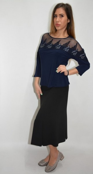 Poze Bluza eleganta office ,model desebit ,nuanta bleumarin