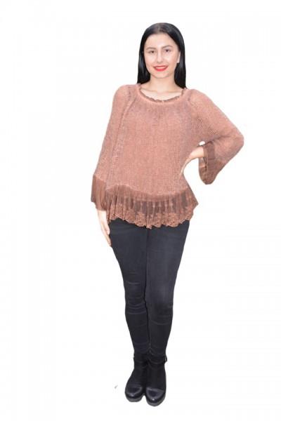 Poze Bluza Elena din tricot cu insertii de dantela,nuanta de maro