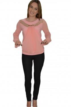 Poze Bluza fashion de ocazie cu pliseuri rafinate, in nuanta de pudra