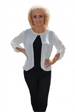 Poze Bluza feminina de ocazie, material elastic negru si voal alb