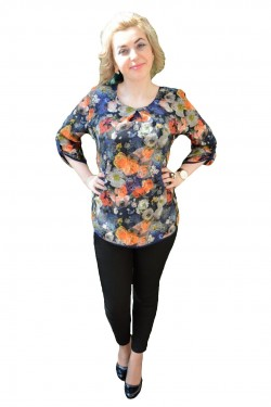Poze Bluza masura mare, bleumarin, cu imprimeu de flori multicolore