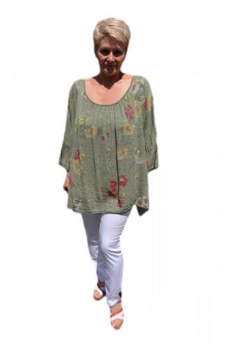 Poze Bluza moderna de vara , cu imprimeu floral, nuanta de verde