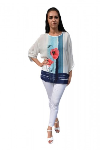 Poze Bluza moderna, tinereasca, alba cu model floral rosu-bleumarin