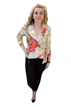 Poze Bluza rafinata tip camasa, multicolora, cu maneca trei-sferturi