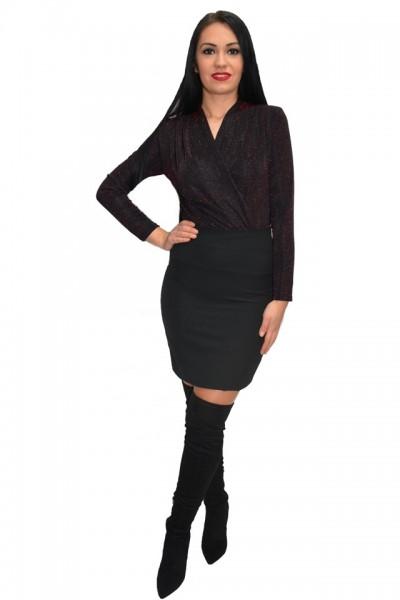 Poze Bluza tip body cu reflexii de culoare rosu-cinabre ,nuanta neagra