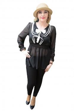 Poze Bluza trendy de culoare neagra cu fundita rafinata, alba, aplicata