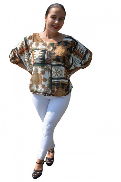 Poze Bluza vaporoasa Melinda, imprimeu vintage cu motive tip baroc, pe fond alb