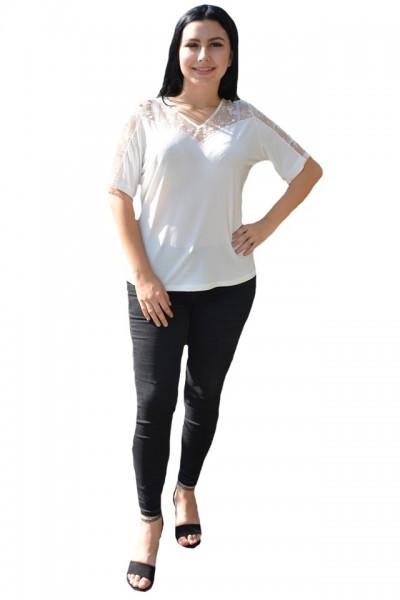 Poze Bluze de ocazie, albe, la maneci si decolteu cu dantela transparenta