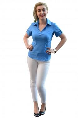 Camasa casual, de culoare albastra, cambrata pe silueta